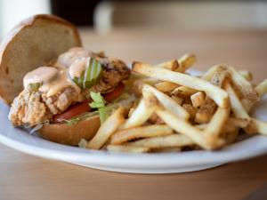 Buttermilk chicken sandwich with fries
