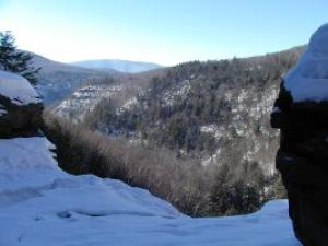 From the top of Kaaterskill Falls in the winter