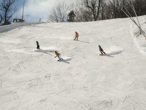Four skiiers on Hunter Mountain Resort