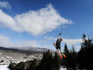 skiier jumping at Hunter Mountain Resort