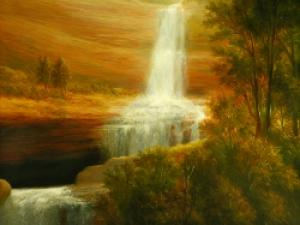 Kaaterskill Falls painting from the Hudson River School of Art
