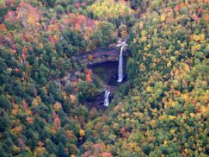 Distant view of Kaaterskill Falls in the Fall