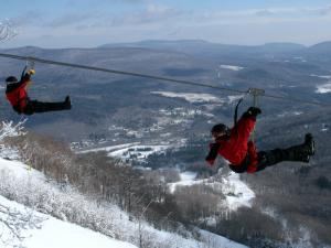 Ziplining in the winter over the Catskills