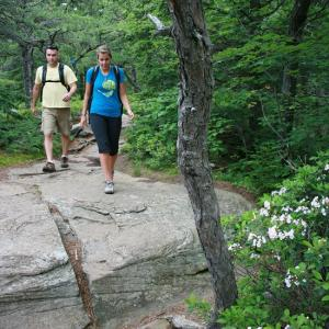 Couple hiking in the Catskills