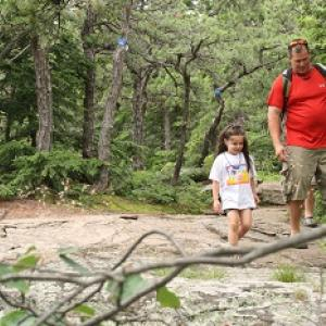 Dad and daughter hiking in the Catskills