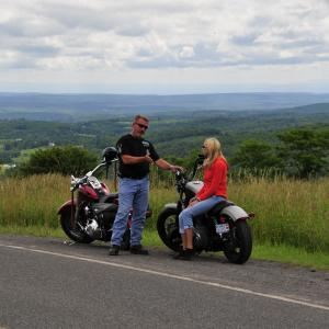 Motorcyclists at a scenic pull off in the catskills