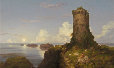 Italian Coast Scene with Ruined Tower by Thomas Cole