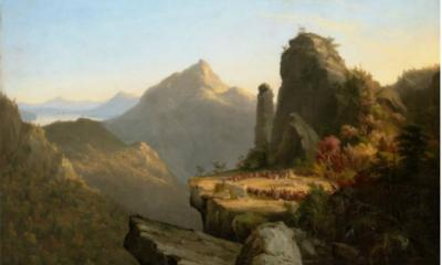 "Scene from ""The Last of the Mohicans,"" Cora Kneeling at the Feet of Tamenund by Thomas Cole"