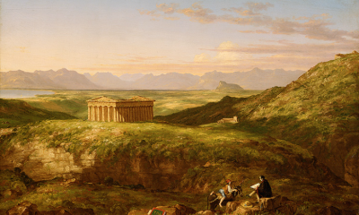 The Temple of Segesta with the Artist Sketching by Thomas Cole