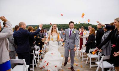 Bride and groom walking down the aisle at Historic Catskill Point