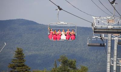 Bridesmaids at a wedding on the Skyride int he Catskills
