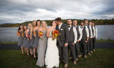 Wedding party on the waterfront at Historic Catskill Point