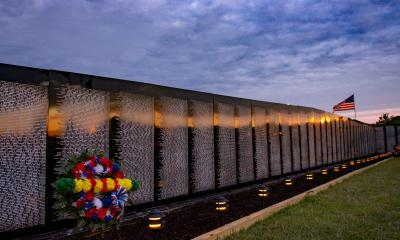 vietnam wall at night in catskill