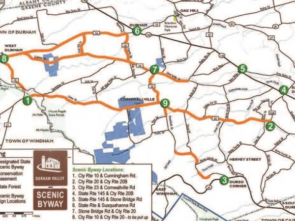 Scenic Byway map of the Northern Catskills