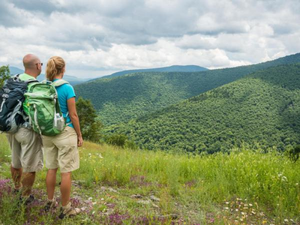 Couple hiking during Spring in the Catskills
