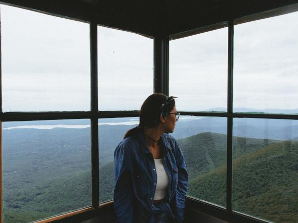 overlooking catskill mountains from a fire tower