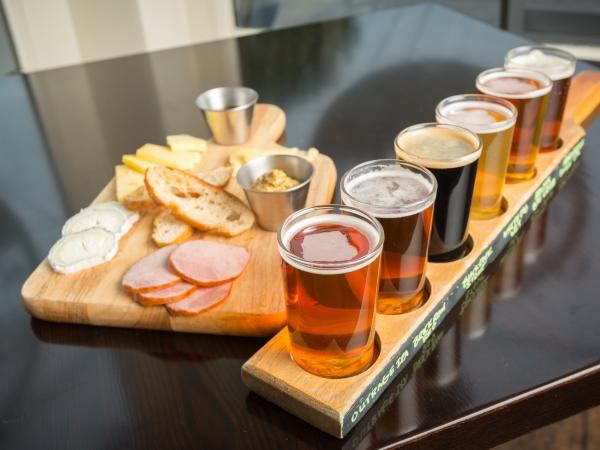 Beer flight and charcuterie board