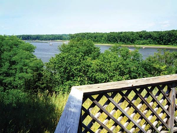 View of the Hudson River from an overlook at Four Mile Point Preserve in Coxsackie NY