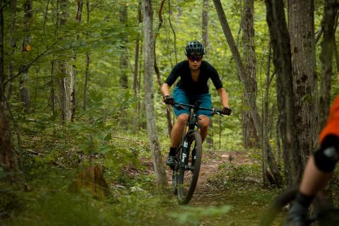 female mountain biker in the Catskills